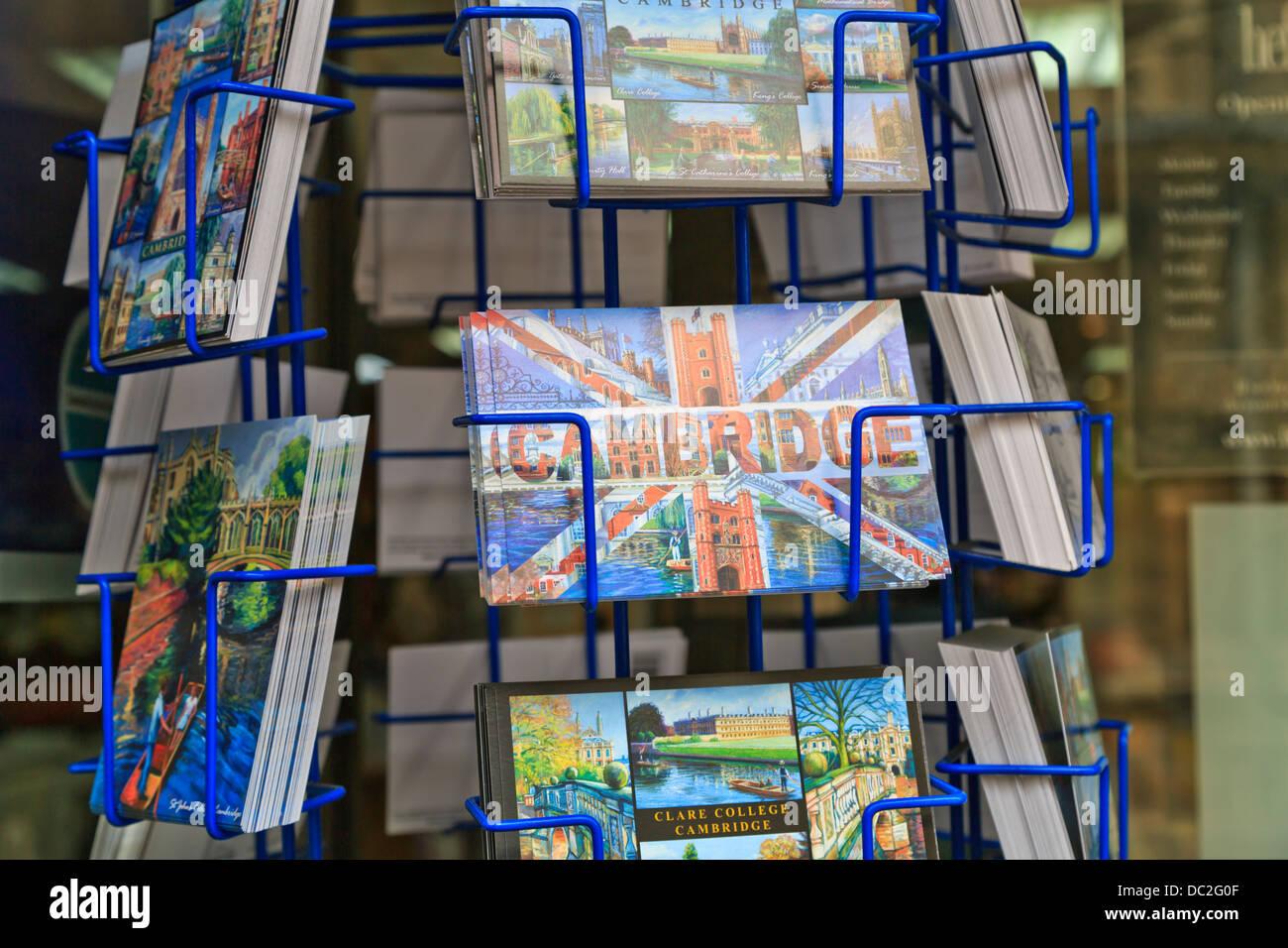 Postcards of Cambridge for sale at souvenir shop, Cambridge, England Stock Photo