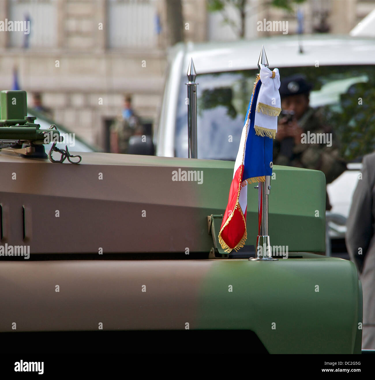 The presidential pennant, on the command car used by the President of the French Republic for the review of the - Stock Image