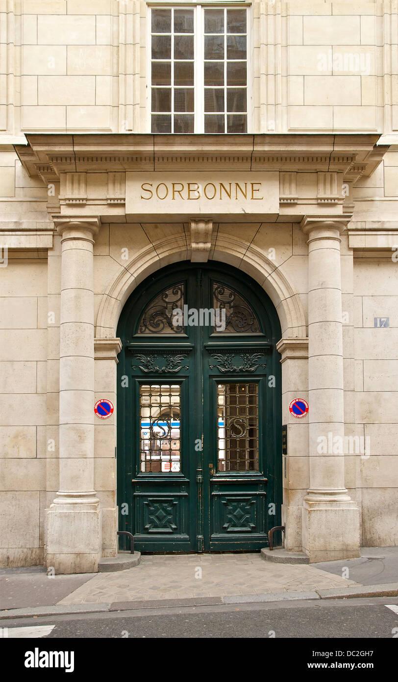 Side entrance of the Sorbonne, 17 rue de la Sorbonne, Paris, France. - Stock Image
