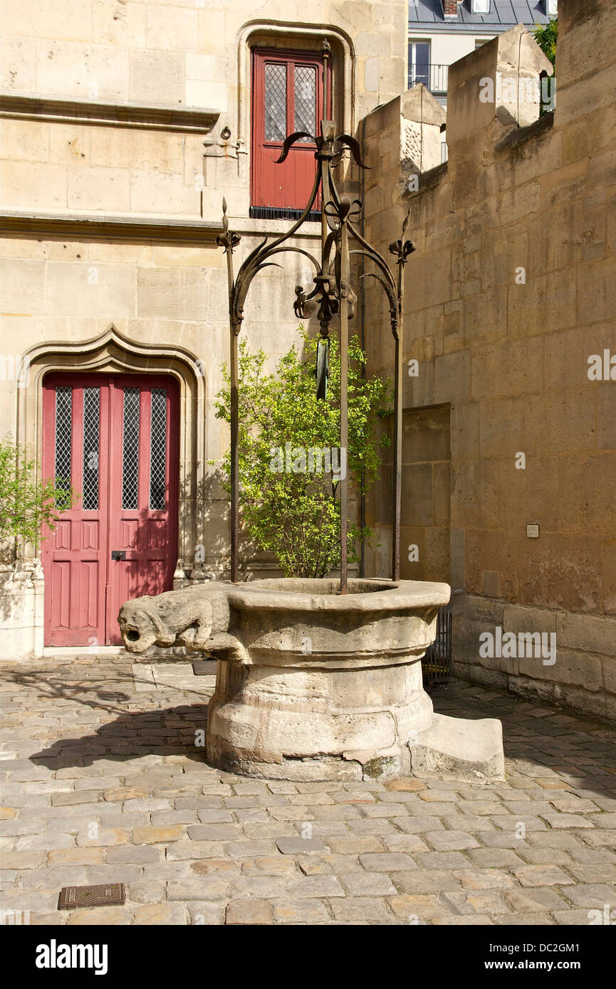 Well-curb and ironworks. Gargoyle of the 'Savage man', in honor of François Sauvage, minister of king - Stock Image