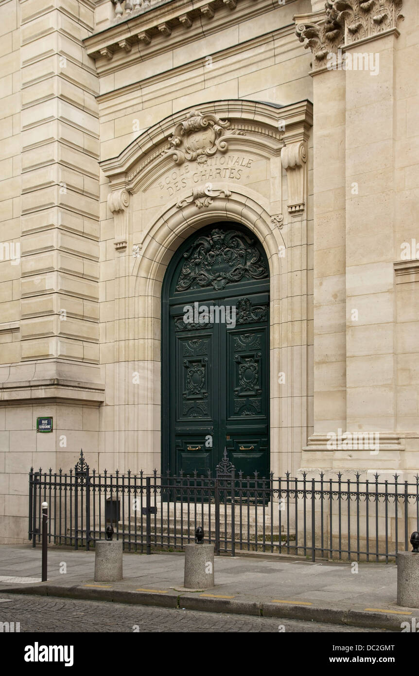 The main entrance of the Ecole Nationale des Chartes at the Sorbonne, University of Paris, France. - Stock Image
