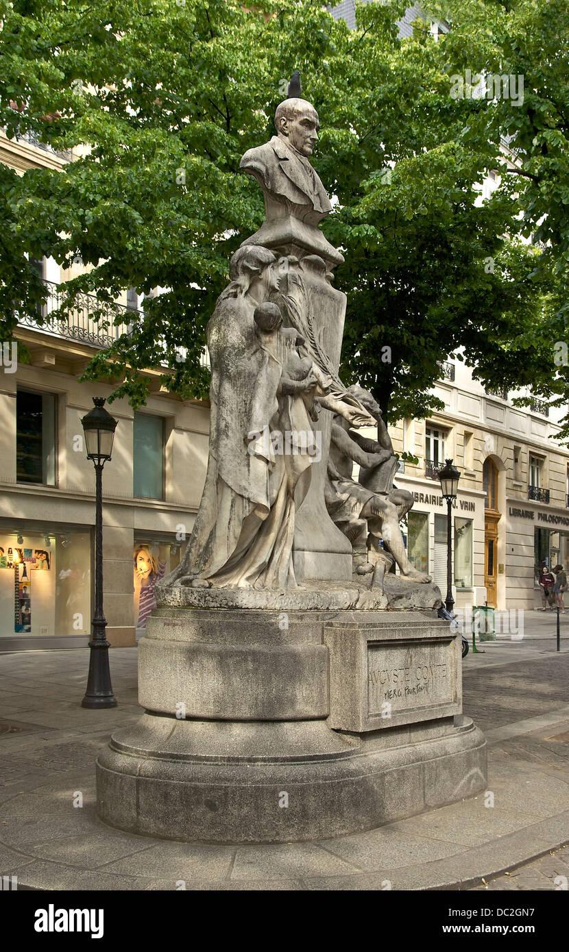 Monument to Auguste Comte, by Jean-Antoine Injalbert, Place de la Sorbonne, Paris. - Stock Image