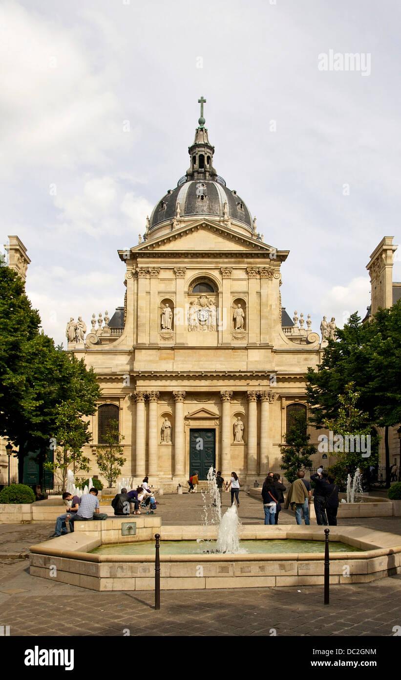 Facade of the chapelle Sainte-Ursule of the Sorbonne, Paris, France - Stock Image