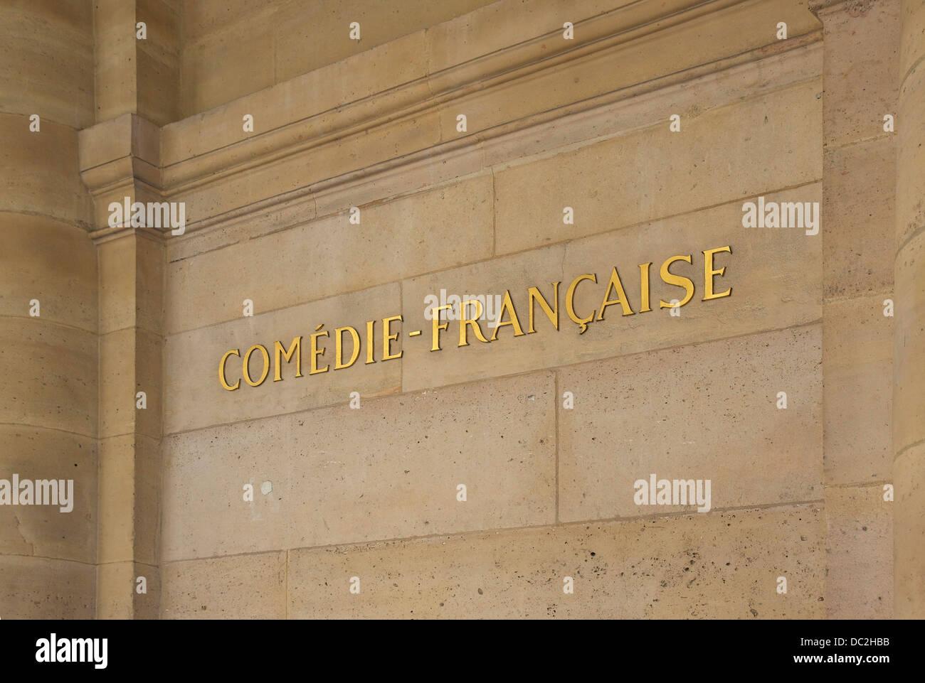 'Comédie-Française', wall of the Palais-Royal, rue de Montpensier, Paris, France. - Stock Image