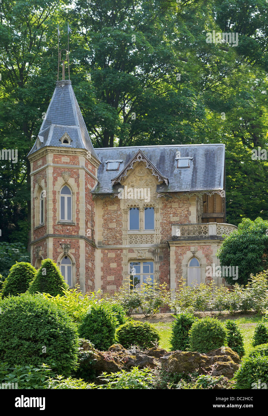 'Château d'If', small gothic revival house ordered by Alexandre Dumas in the gardens of 'Monte - Stock Image