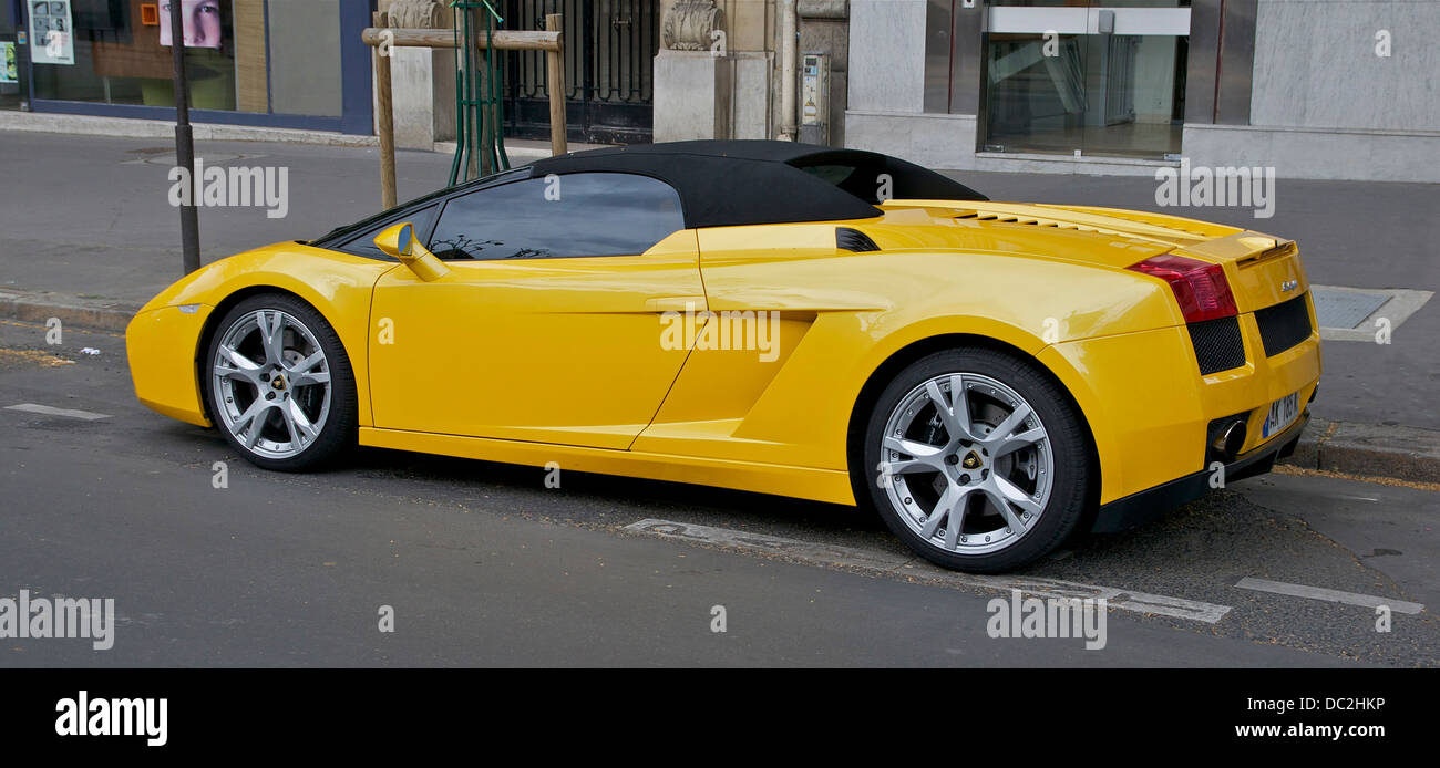 A Yellow Lamborghini Gallardo Spyder Paris France Stock Photo