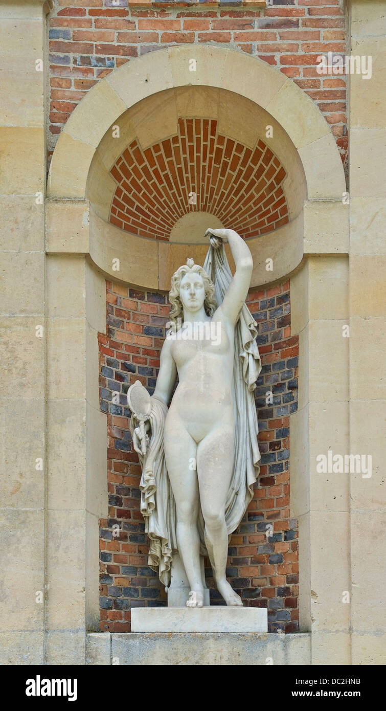 Marble statue of a women with a mirror, by Noël-Jules Girard (french, 1816-1886), in a niche of the wing of - Stock Image