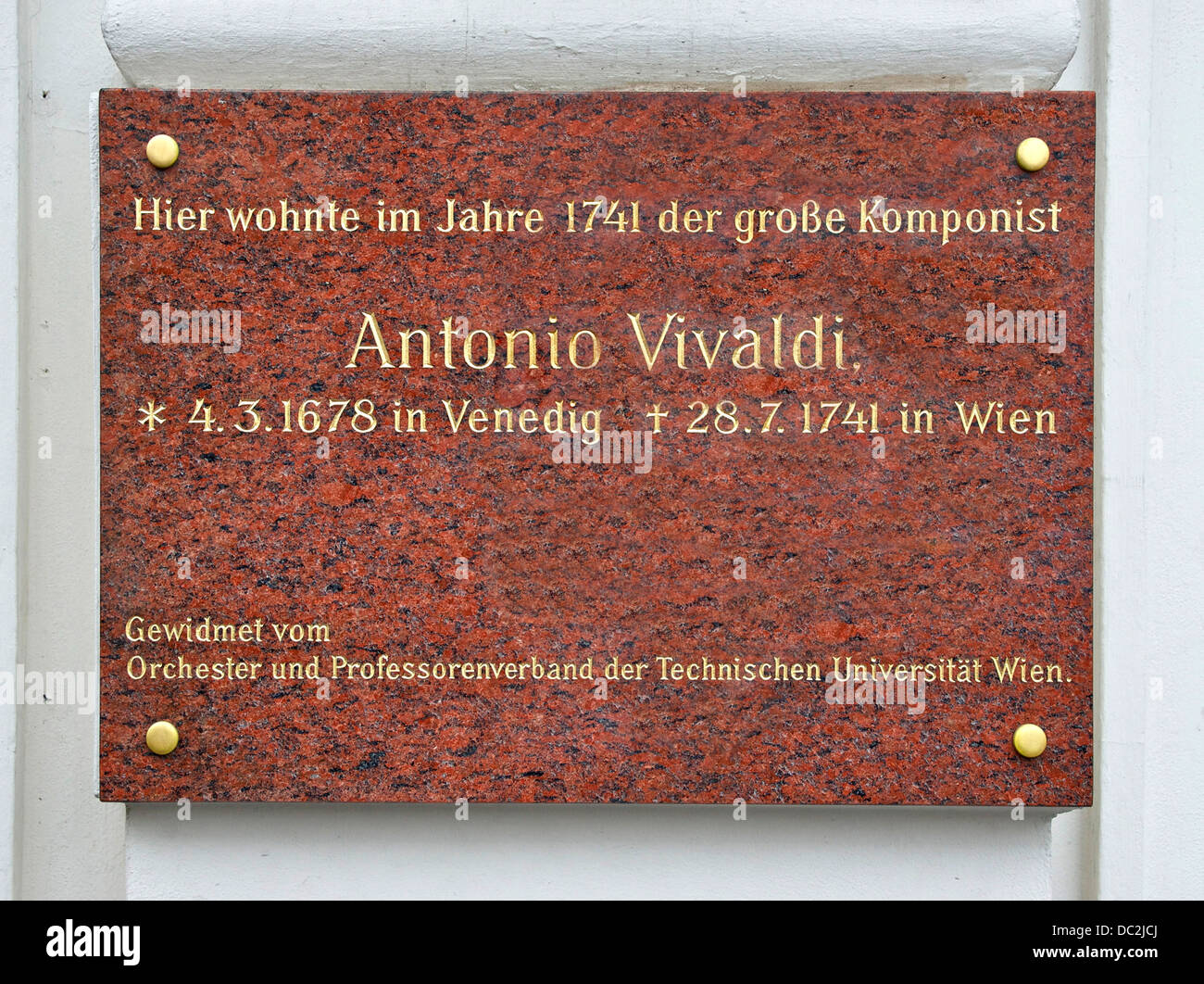'Here lived Antonio Vivaldi in 1741', year when he died, on a house near the former Carinthia Gate in Vienna, - Stock Image