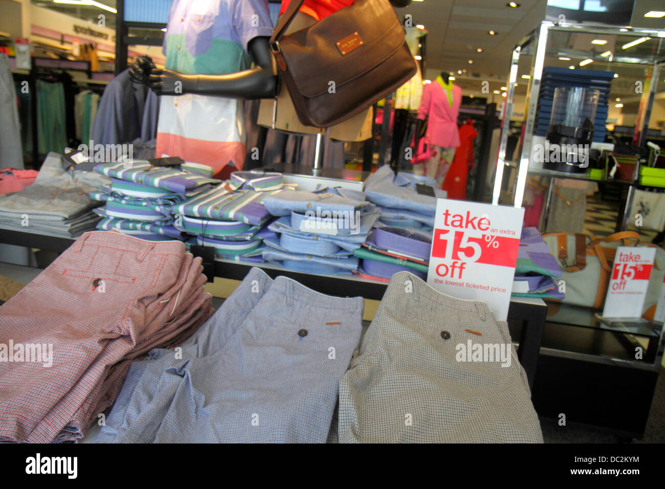 Florida, FL, South, Sunrise, Fort Ft. Lauderdale, Sawgrass Mills mall, interior, sale, Bloomingdale's The Outlet Stock Photo