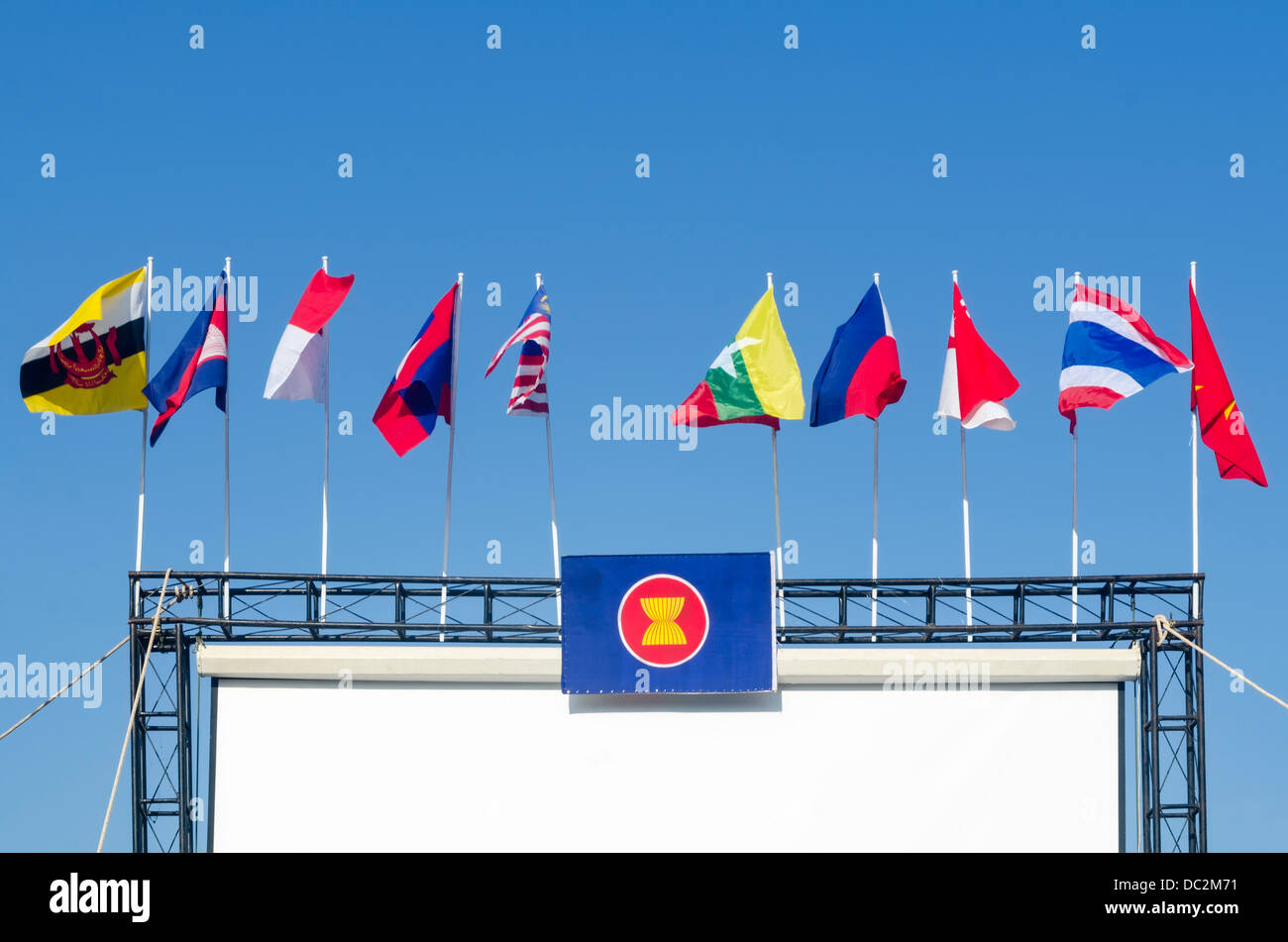 The ASEAN flag with the blue sky - Stock Image