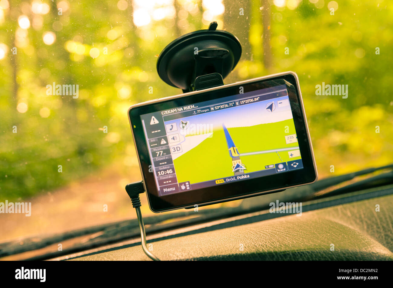 Navigation system direct to the forest - Stock Image