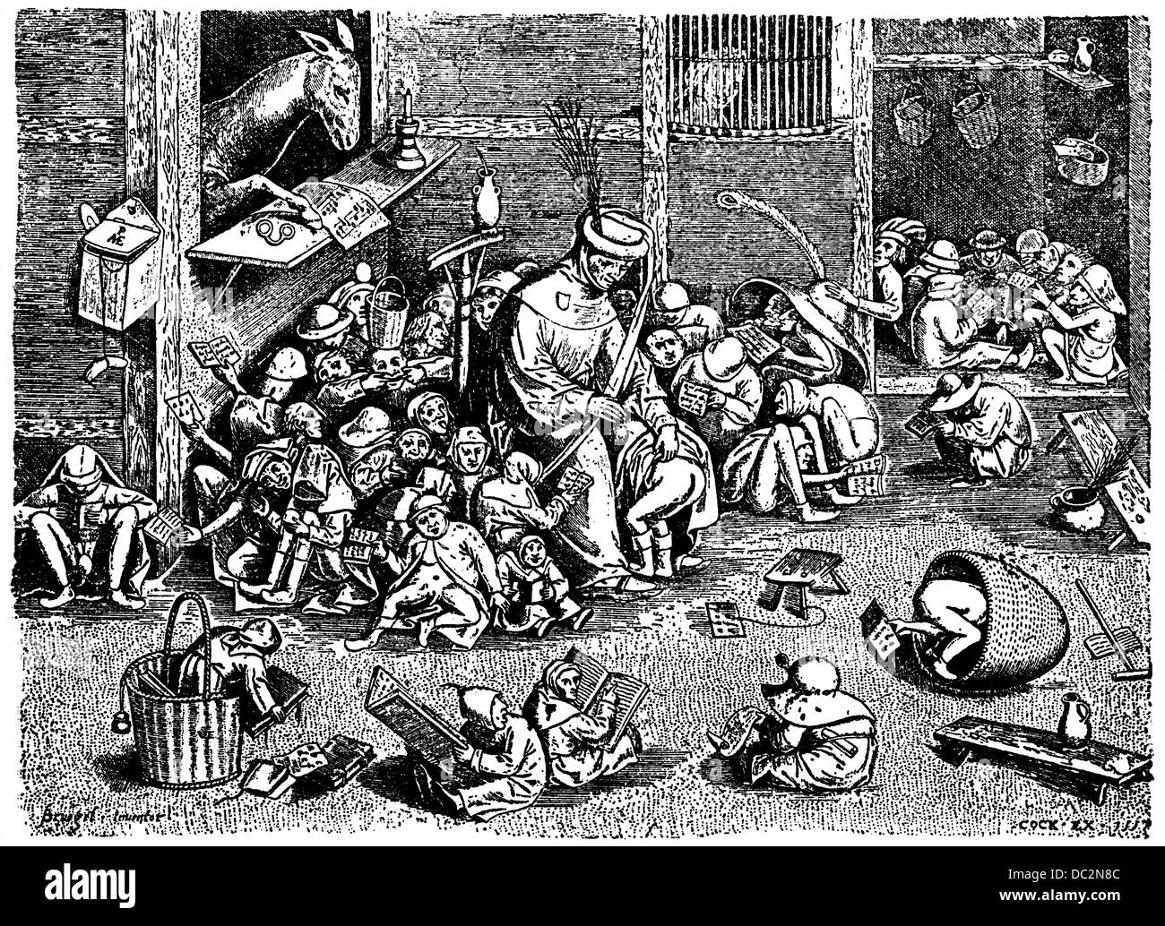 satirical depiction of a school in the 16th Century with a teacher spanking a child - Stock Image