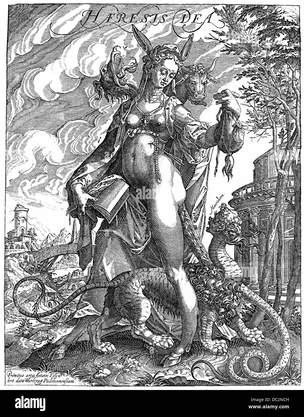 Pamphlet, 16th Century, satirical depiction of a goddess, heresy or heterodoxy, contradicts the teachings of Christian - Stock Image