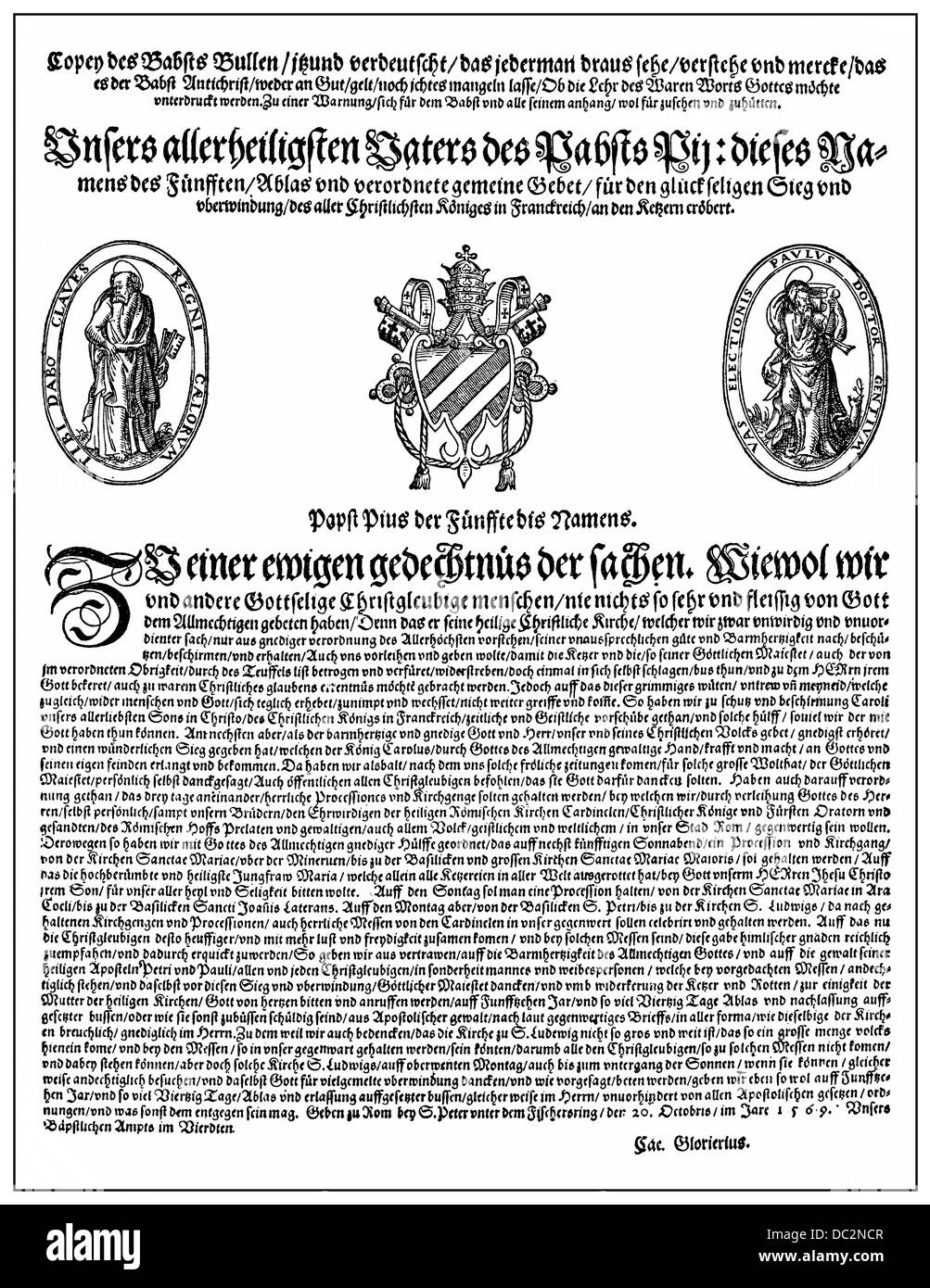Papal bull Hebraeorum Gens from 1569 for expulsion of the Jews, Pope Pius V or Antonio Michele Ghislieri, 1504-1572 - Stock Image