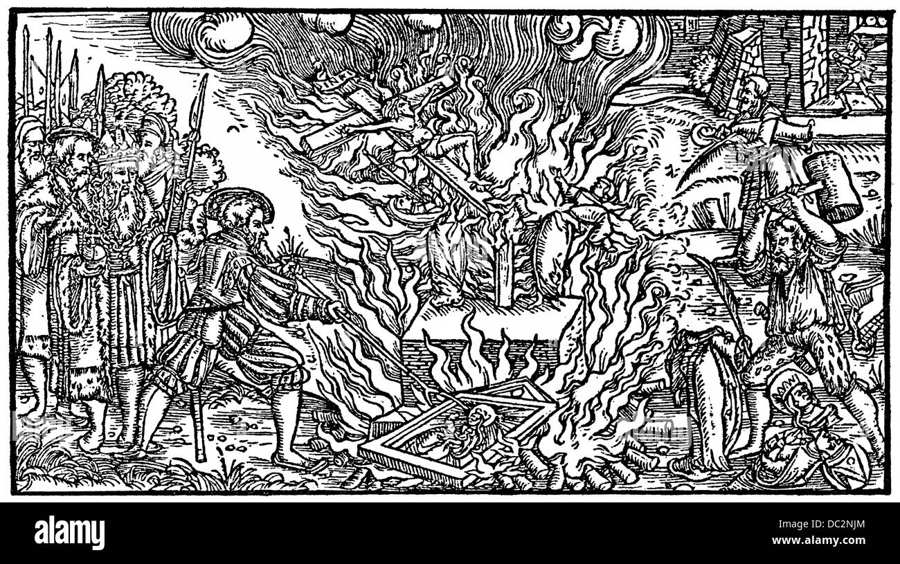 Historical illustration from the 19th Century, The Iconoclasts, after a woodcut from 1500 - Stock Image