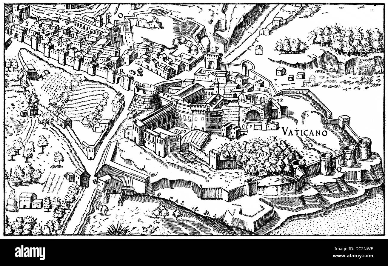 Historical illustration from the 19th Century, the Vatican in the 16th Century, Stock Photo
