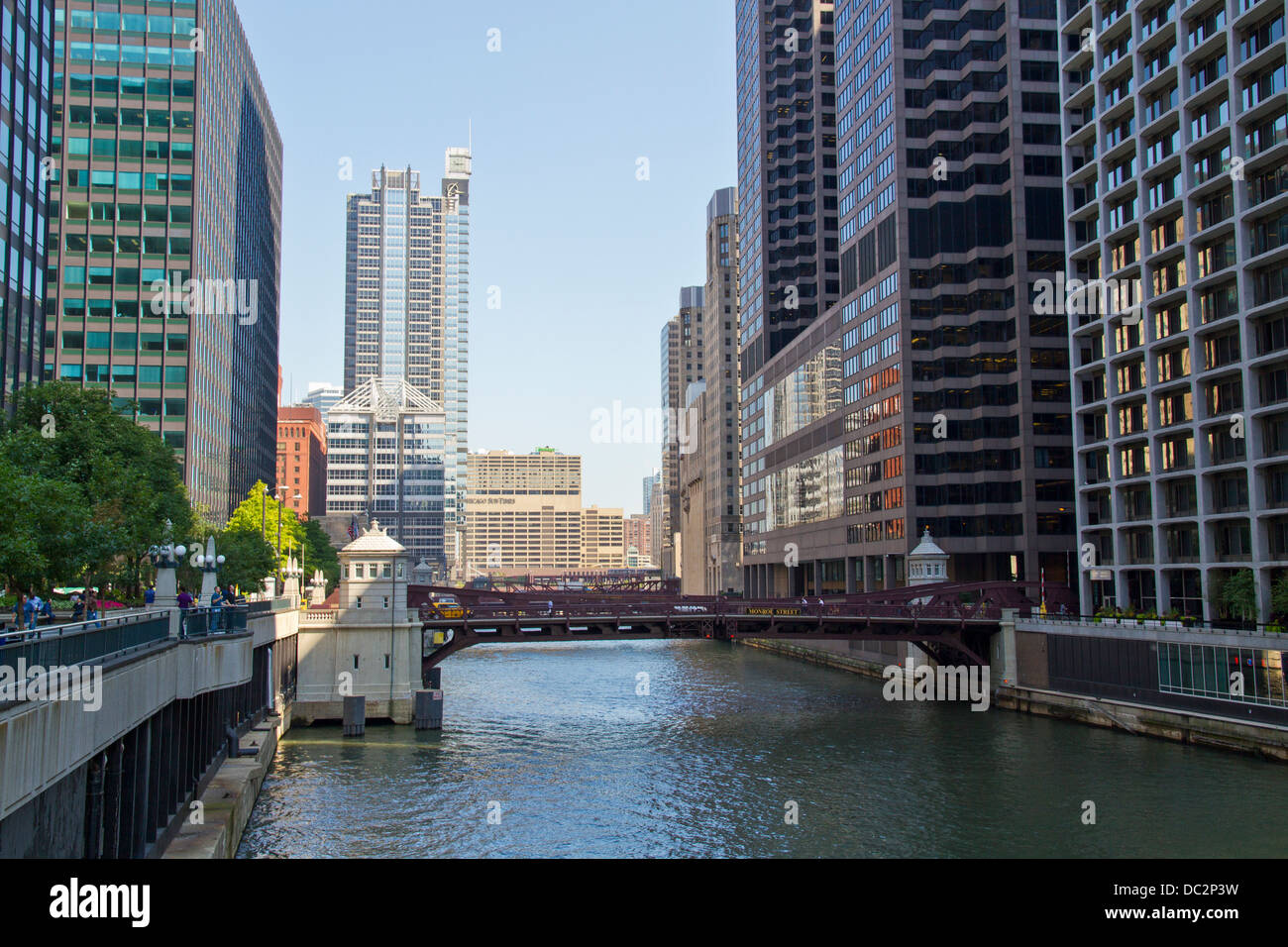 The Chicago River in downtown Chicago, Illinois, USA Stock Photo