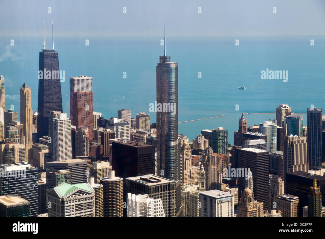 Aerial view of Chicago IL, Trump tower and the John Hancock building, as seen from the Willis tower observation - Stock Image