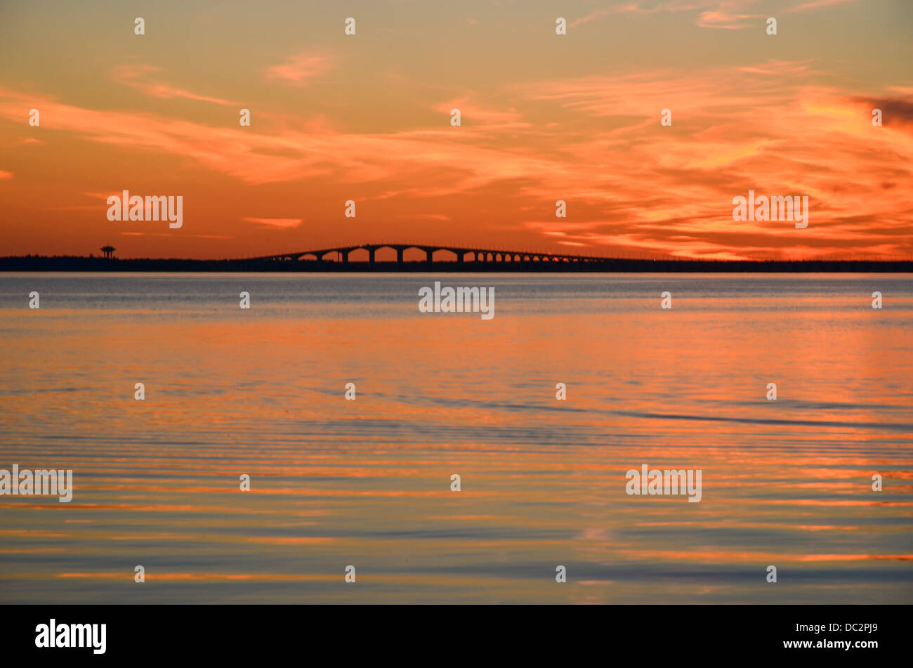 Oland bridge connects the island Oland in the Baltic sea with mainland Sweden Stock Photo