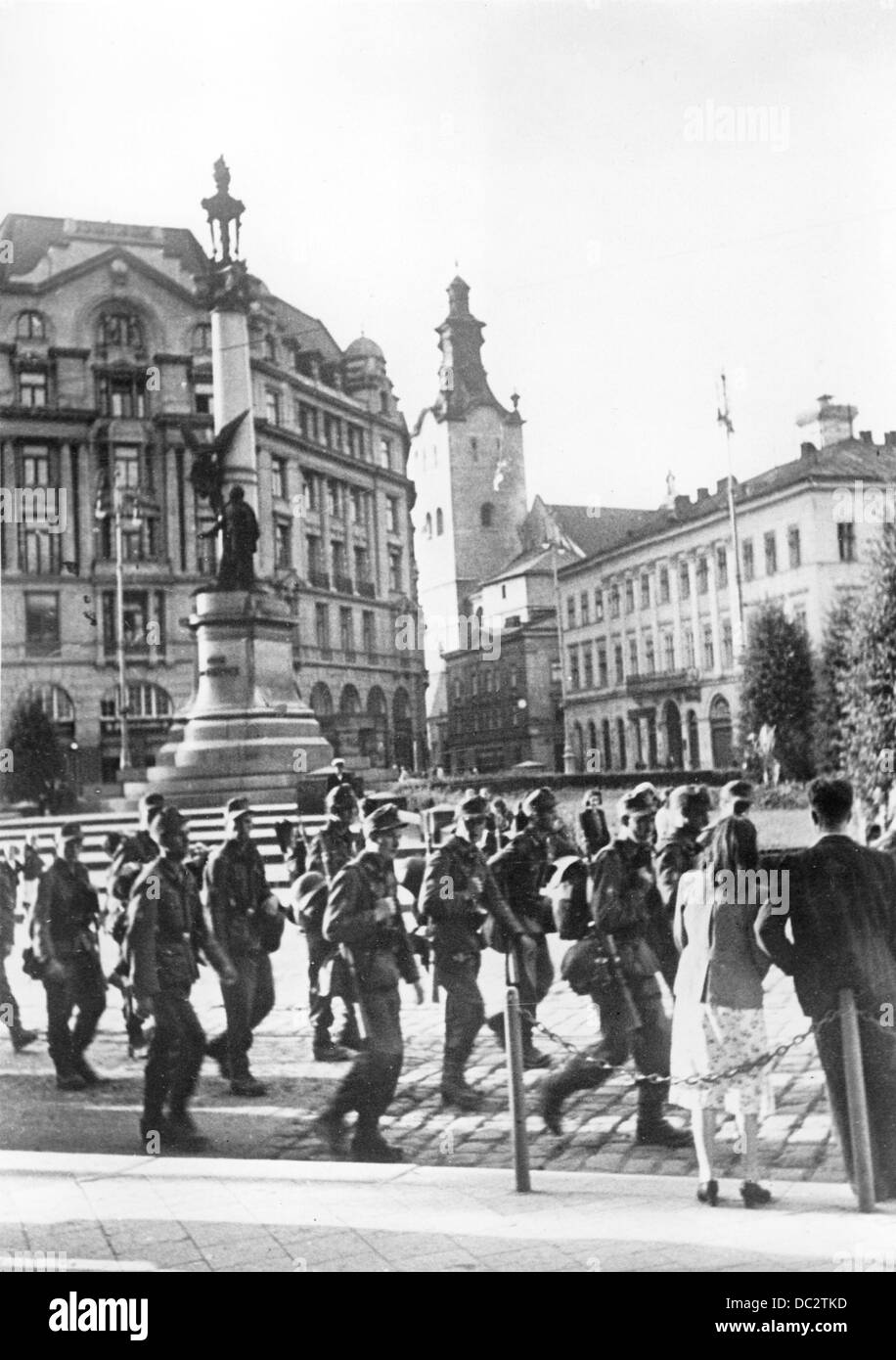 """The Nazi Propaganda! on the back of the picture reads: """"After capturing Lviv. Welcomed by the population German Stock Photo"""