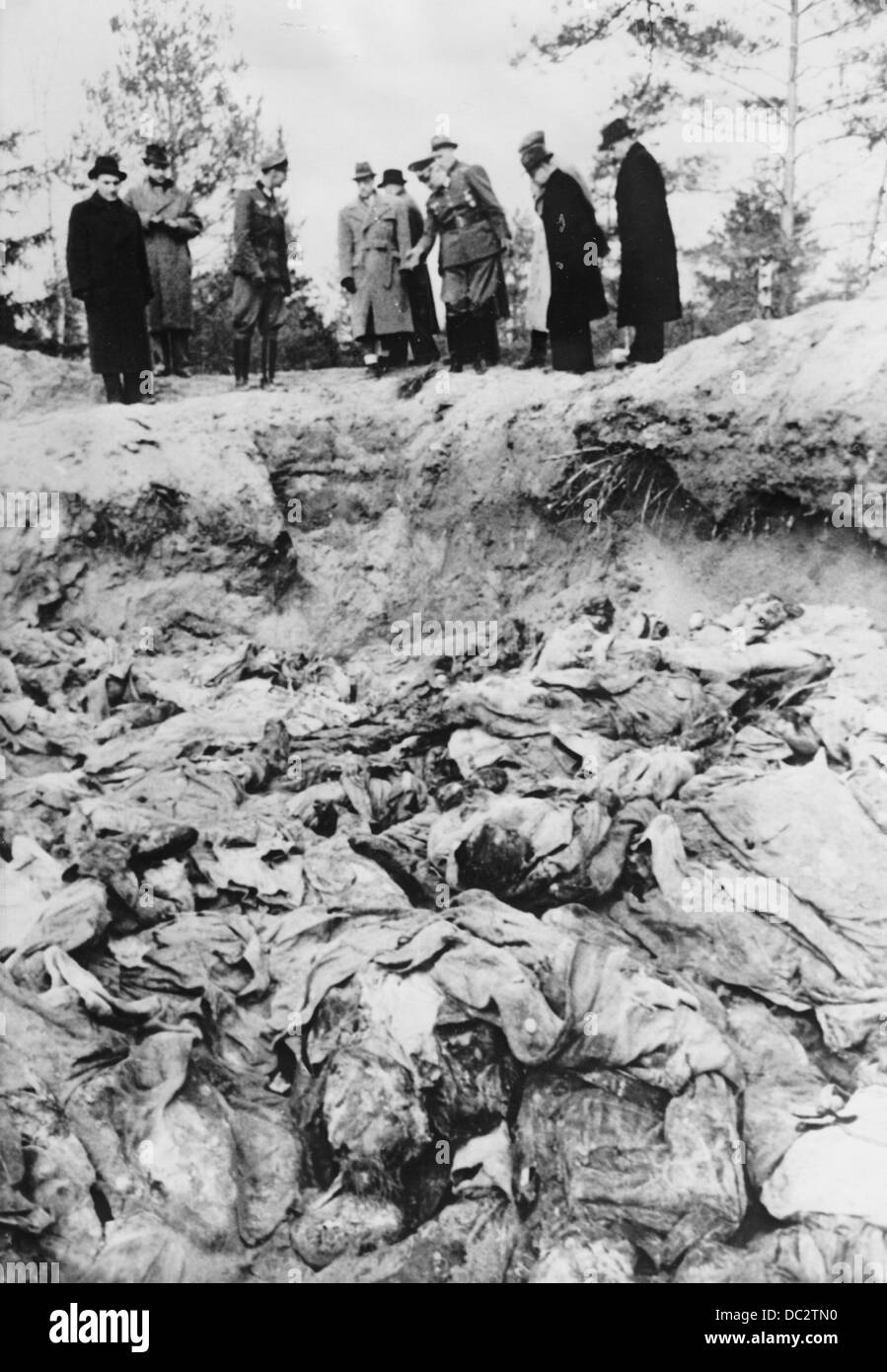 The discovery of the mass graves in Katyn (Russia) by the German Wehrmacht in February 1943 - the Nazi Propaganda! Stock Photo