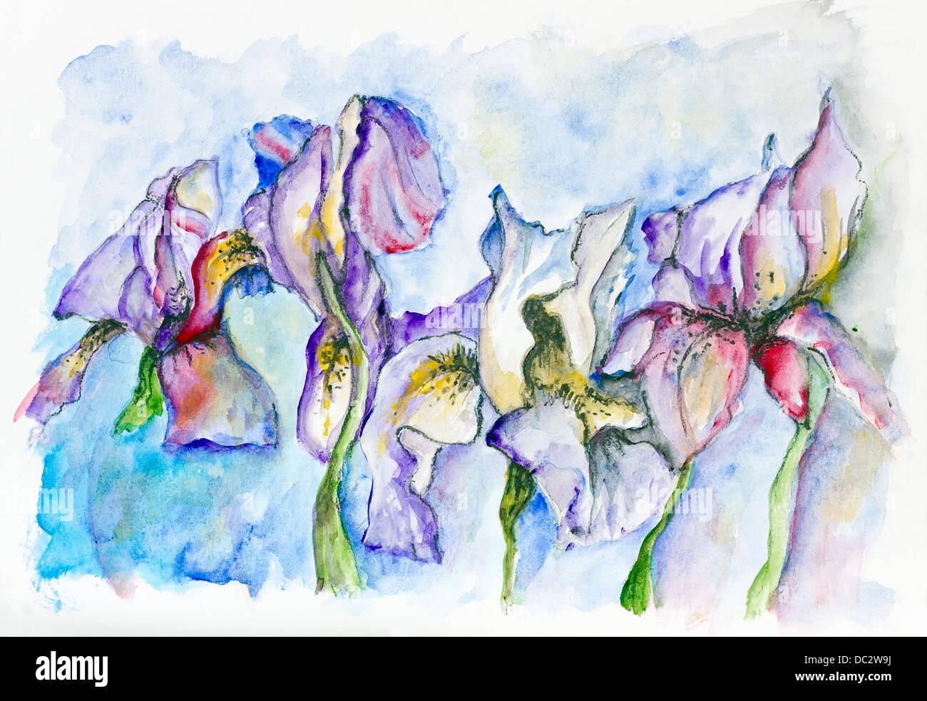 Fantastic Rare Blue Red Irises Spring Flowers Handmade Watercolor