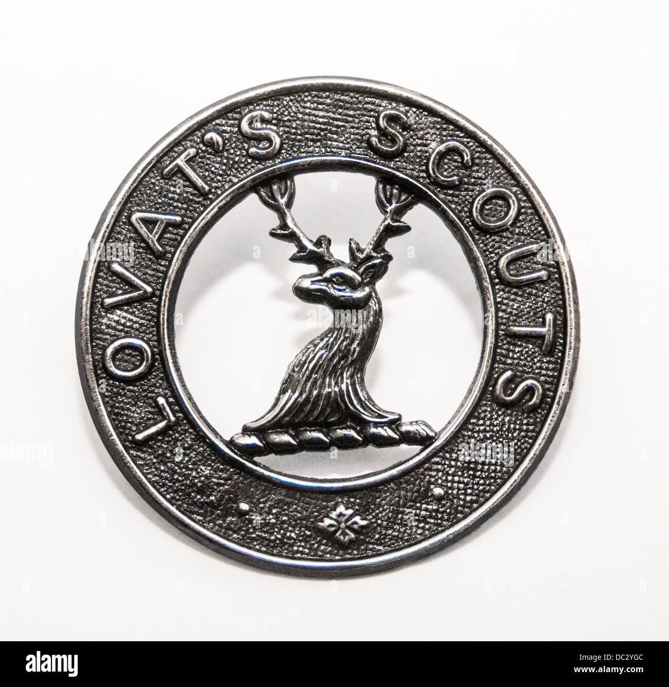 Regimental Cap badge of the Lovat Scouts Regiment raised by Lord Lovat in The Boer War - Stock Image