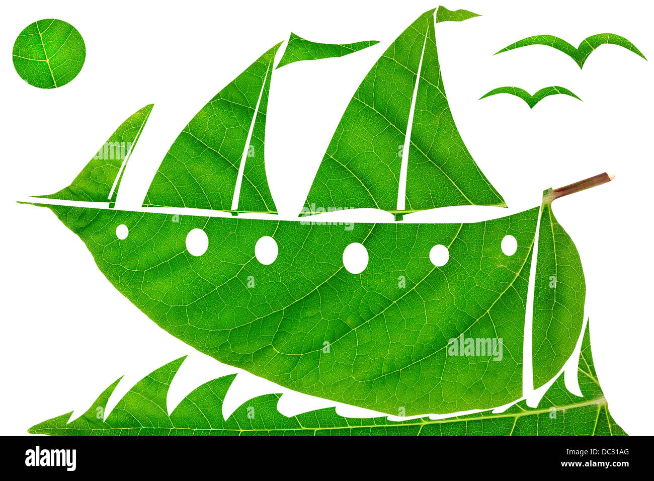 Green sailing yacht racing on the ocean waves concept. Naive collage from fresh green leaves. Isolated - Stock Image