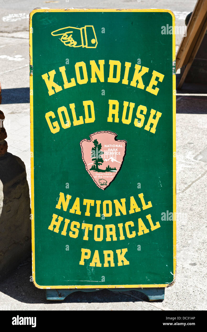 Sign outside the Klondike Gold Rush National Historical Park, Second Avenue South, Washington, USA - Stock Image