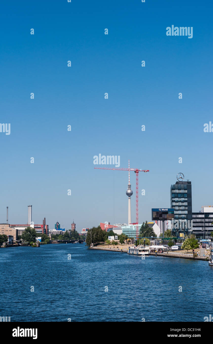 Cityscape Berlin Germany – View over the Spree River with Berlin Wall East Side Gallery, Television Tower, tower Stock Photo