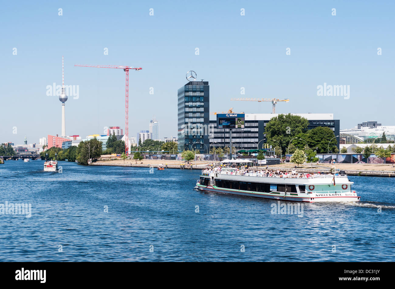 Cityscape Berlin Germany – View over the Spree River with Berlin Wall East Side Gallery, Television Tower, excursion Stock Photo