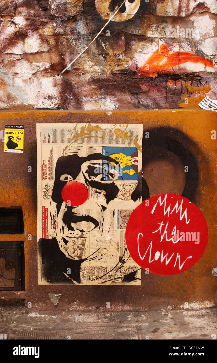 A picture by French street artist MIMI the Clown, is glued on a wall in the district of Mitte in Berlin, July 16, - Stock Image