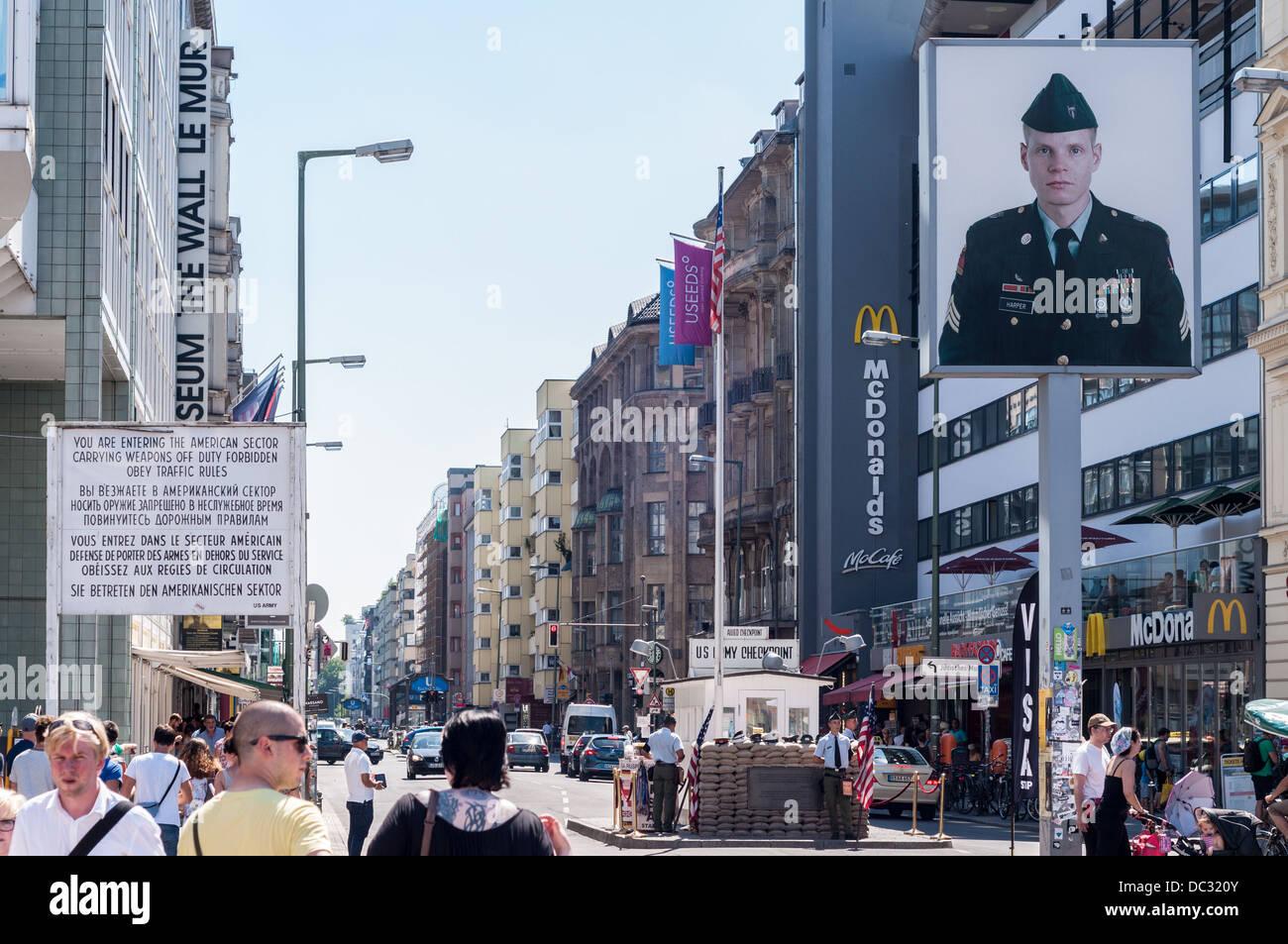 US Army Checkpoint Charlie Berlin Germany landmark Stock Photo