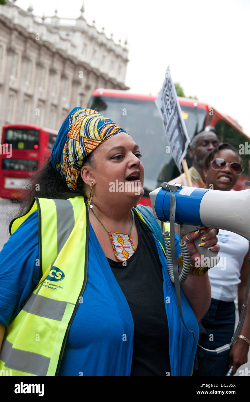 Zita Holbourne London Rally against Global Racism & Injustice after acquittal of George Zimmerman shot & - Stock Image