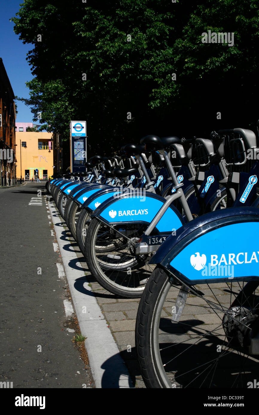Barclays Cycle Hire bicycles parked in the docking station at Tyers Gate, Bermondsey, London, UK - Stock Image
