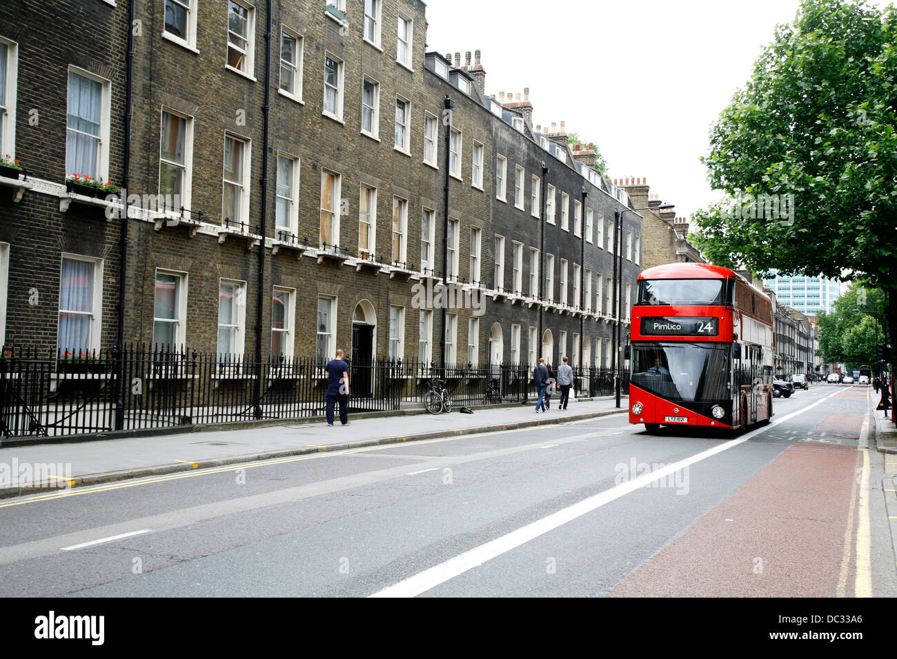 New Routemaster bus number 24 travelling along Gower Street, Bloomsbury, London, UK - Stock Image