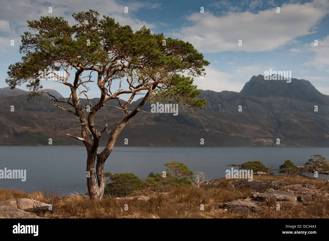Looking over Loch Maree to Slioch - Stock Image