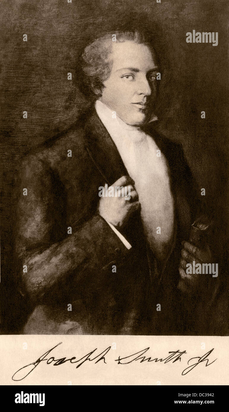 Joseph Smith, Mormon founder, with his autograph. Photogravure reproduction of a painting - Stock Image