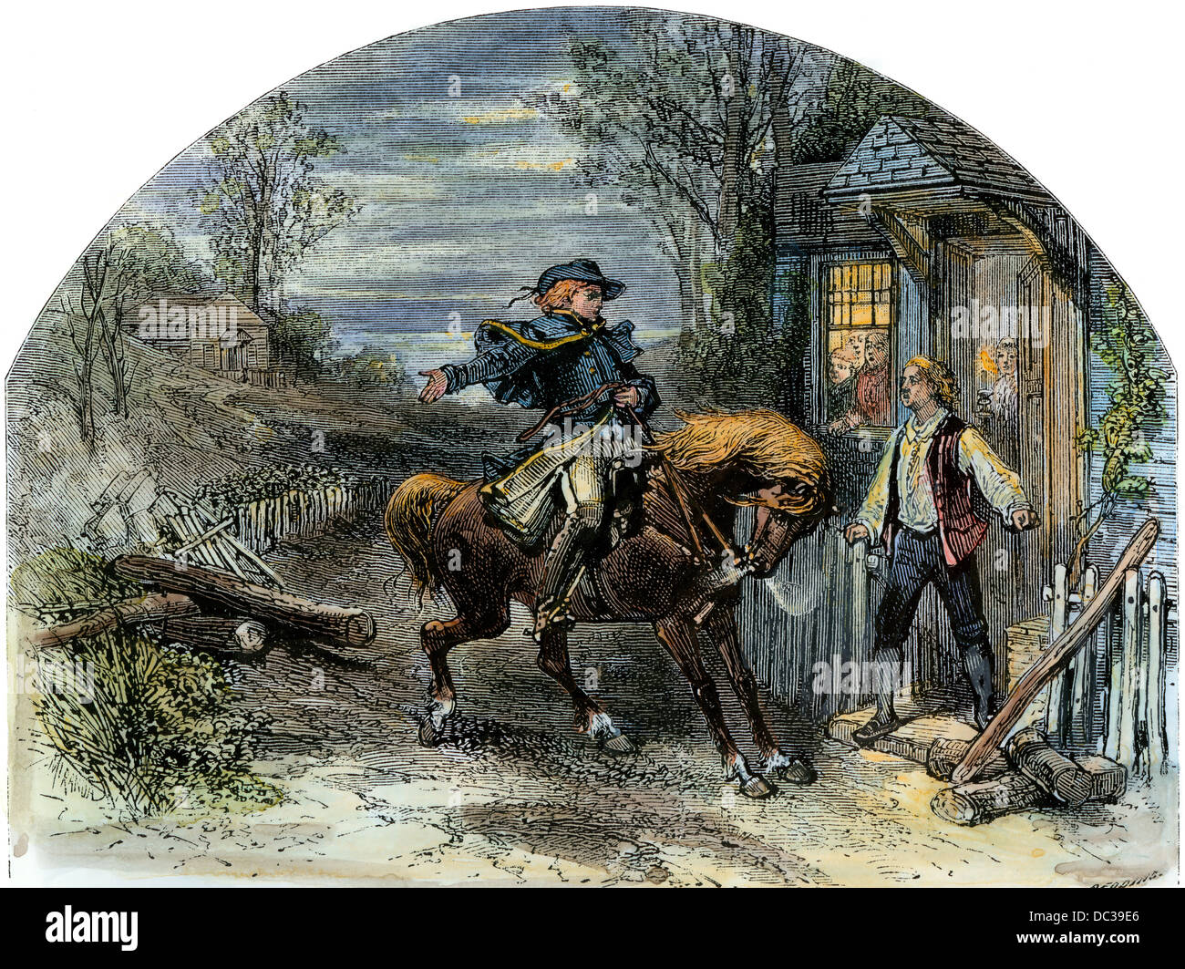 Midnight ride of Paul Revere, starting the American Revolution, 1775. Hand-colored woodcut - Stock Image