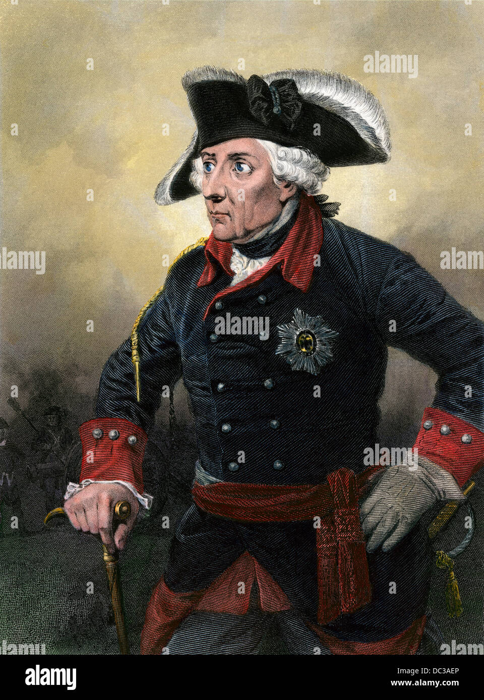 Emperor Frederick the Great of Prussia. Hand-colored steel engraving - Stock Image