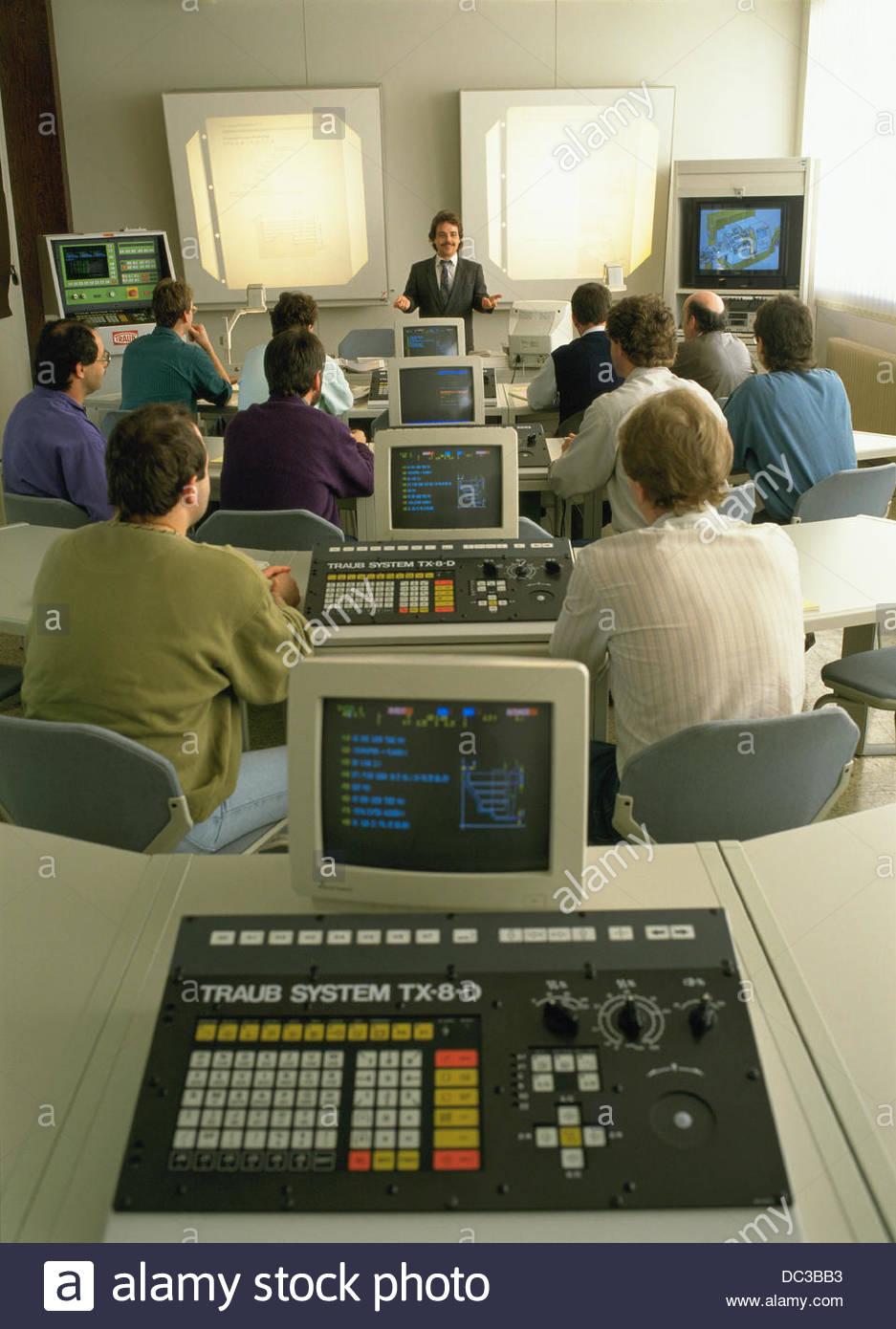 Adult education  CNC machine tool training course Stock