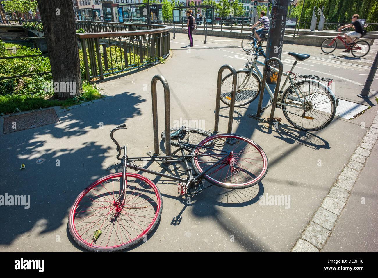 Vandalized bikes Strasbourg Alsace France - Stock Image