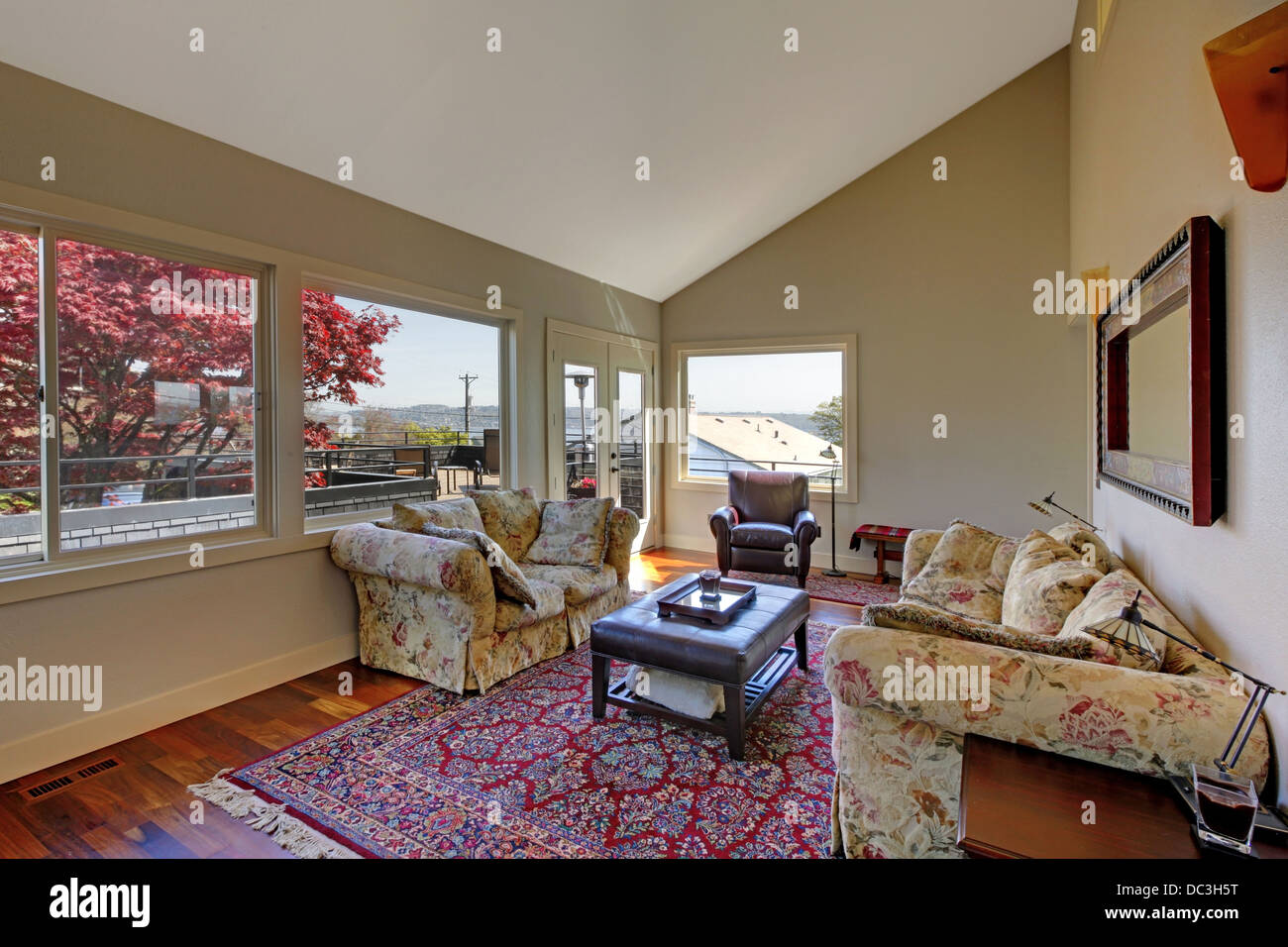 Large living room with two sofas and red rug Stock Photo ...