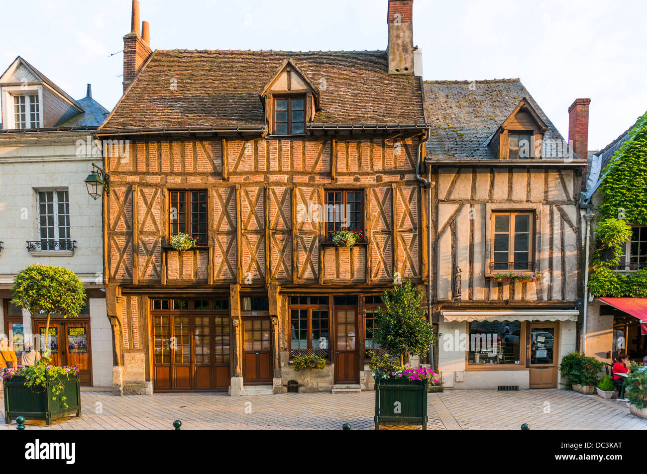 Beautiful, sunlit, centuries old timber buildings, in the town centre of Amboise, in the Indre-et-Loire department Stock Photo