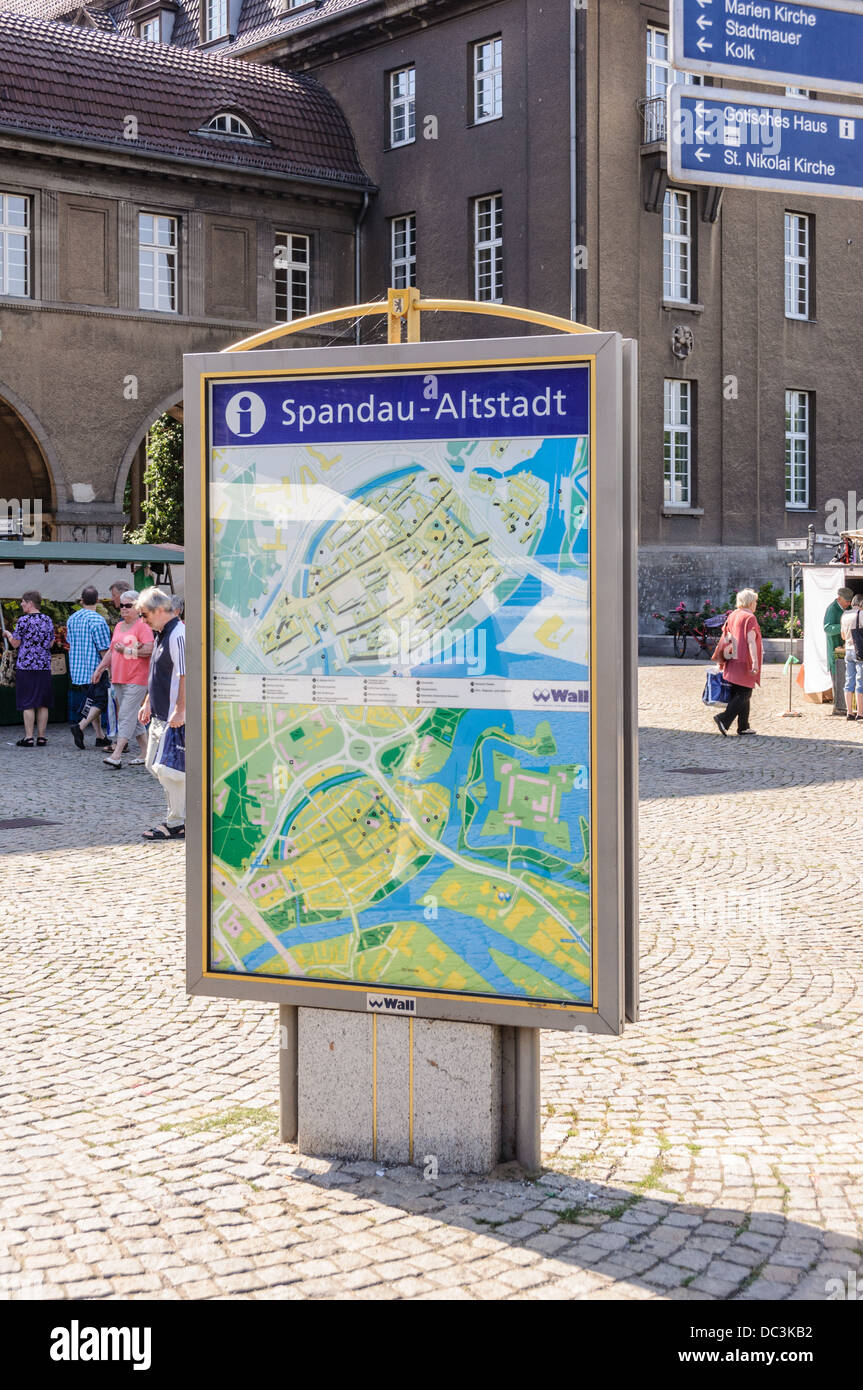 Berlin Sandau old city information board with city map and signs to landmarks Stock Photo