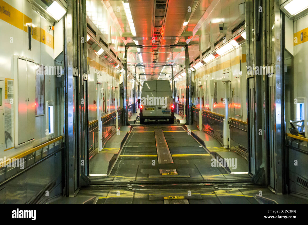 Le Tunnel sous la Manche: On board a Eurotunnel shuttle train for high vehicles, to England, UK, at the Calais terminal, - Stock Image