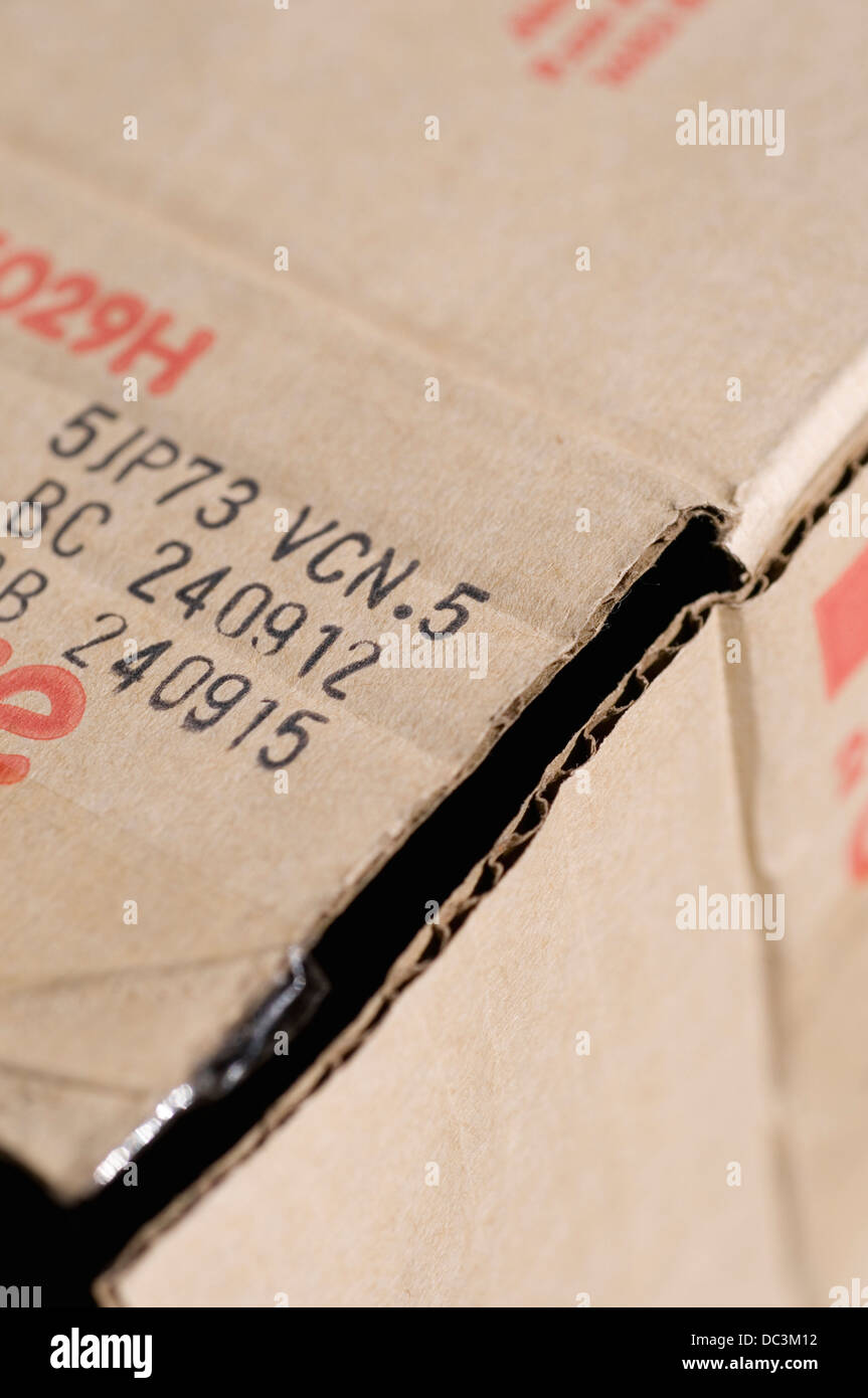 Product codes on cardboard box - Stock Image
