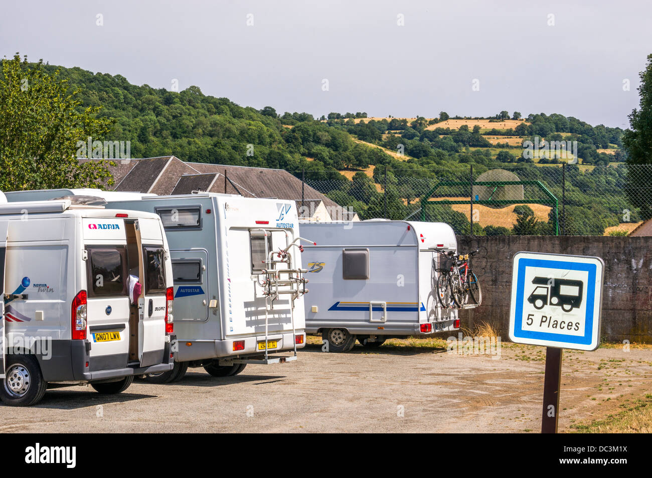 The motorhome aire-de-camping-car stopover at Clécy, Calvados, Normandy, north France. Clecy is the 'capital' - Stock Image