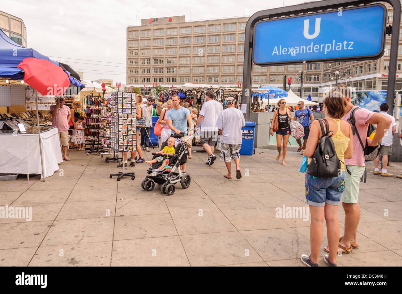 Streetmarket on Berlin Alexanderplatz (Alex) in front of the U-Bahn (subway, underground) station - Stock Image