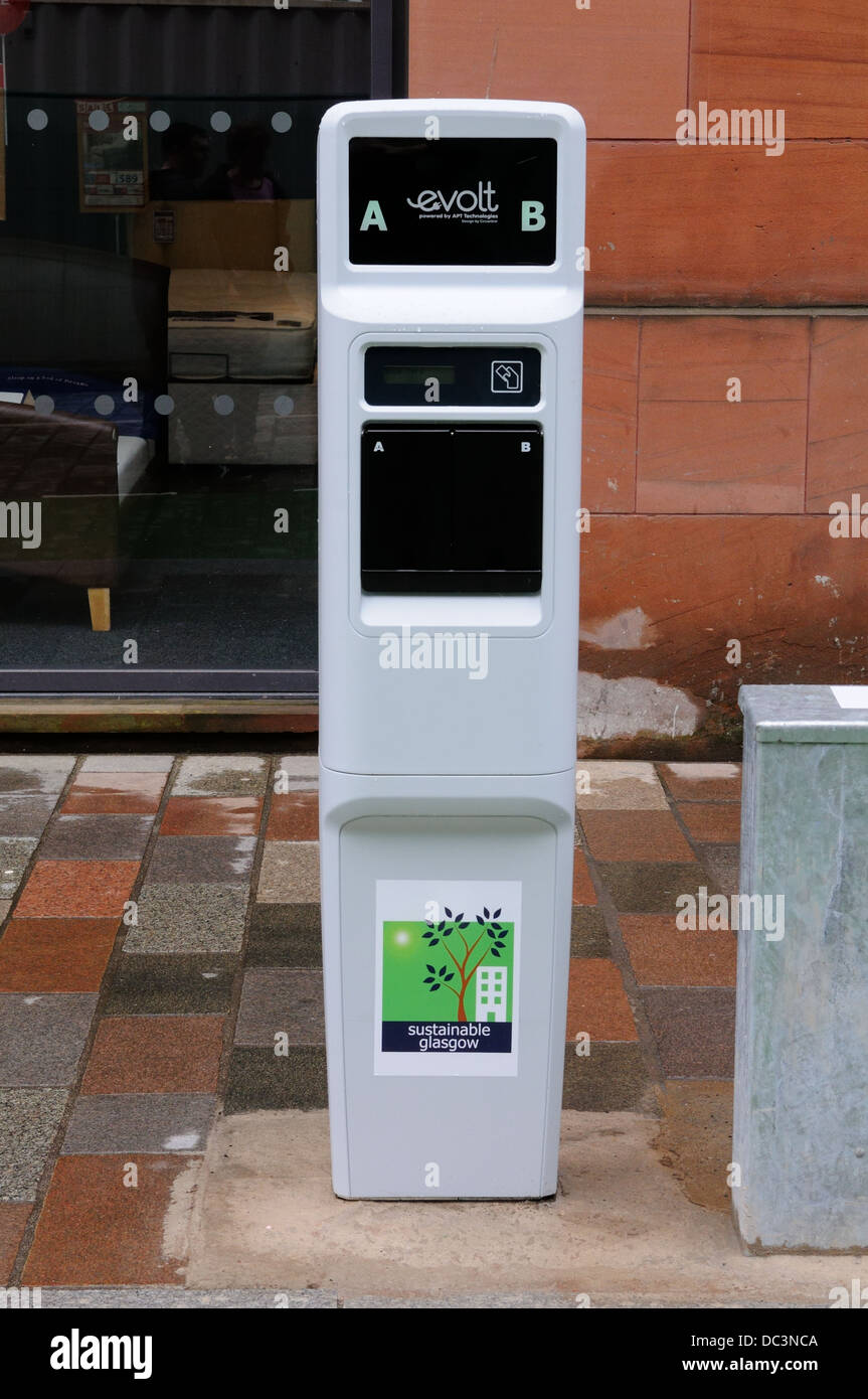 Battery charging point for electrically propelled car in Glasgow city centre, Scotland, UK. - Stock Image